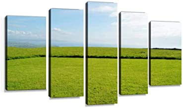 Scenic meadows with clear sky suitable for Modern Art Painting set Digital Print Picture on Canvas Framed Artwork Wall Decor Living Room Office Bedroom 5 Pieces
