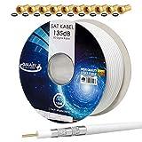 hb-digital 100m cavo coassiale sat 135db schermato 5 volte per sistemi ultra hd 4k dvb-s / s2 dvb-c e dvb-t bk + 10 set di connettori f placcati in oro gratuiti