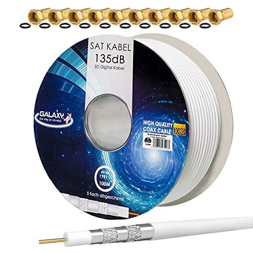 HB-Digital Set: 100m Koaxial SAT Kabel 135db Weiß + 10x F-Stecker vergoldet | CCS (Stahl-Kupfer) Satellit Antennenkabel 5-Fach geschirmt für DVB-S/S2 DVB-C/C2 DVB-T/T2 DAB+ Radio BK Anlagen