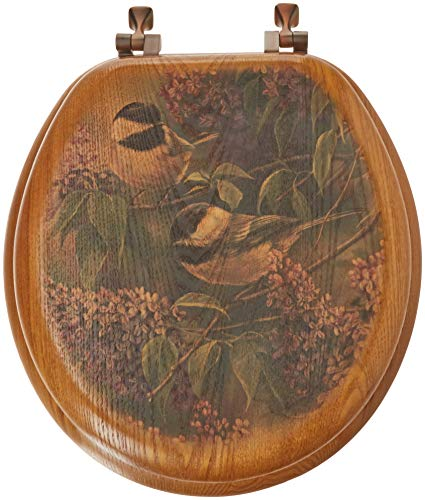 WGI-GALLERY TS-R-CL Chickadees & Lilac Toilet Seat