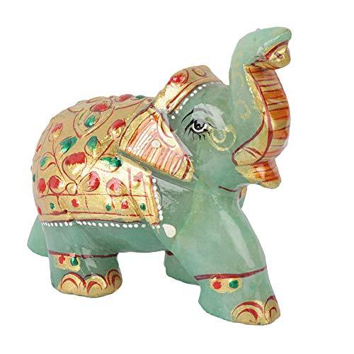GEMHUB Bonita figura de elefante de jade verde de 614,75 quilates para decoración del hogar