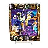 BBOOUAG Cortina de ducha de oro egipcio antiguo lavable, accesorios de baño, decoración con ganchos, color blanco, 150 x 180 cm