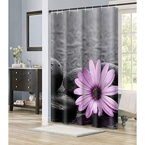 Irongarden - Cortina de ducha con diseño de girasol, color rosa, piedra zen, impermeable, tela de poliéster, con ganchos, 183 x 183...