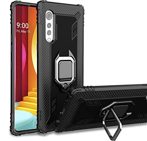 TANYO Hülle für LG Velvet (5G / 4G), Schutzhülle TPU Silikon Armor Handyhülle mit Ständer, Stoßfeste Silikonhülle mit Bumper, Schwarz