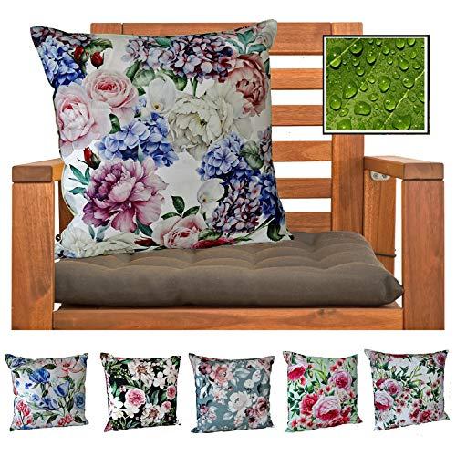 heimtexland ® Outdoorkissen Dekokissen Schmutz- und Wasserabweisend Landhaus Garten Outdoor Kissen Blumen Rosé Grün Typ675