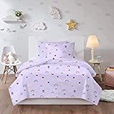 HUA JIE Funda Cama Kawaii Rainbow Flowers Cartoon Bedding Set Queen 3 Piece Kids Lavender Duvet Covet Sets 1 Duvet Cover + 2 Pillowcases