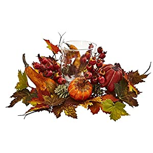 Nearly Natural Artificial Arrangement Pumpkin, Gourd, Berry and Maple Leaf Candelabrum, Multi/Color