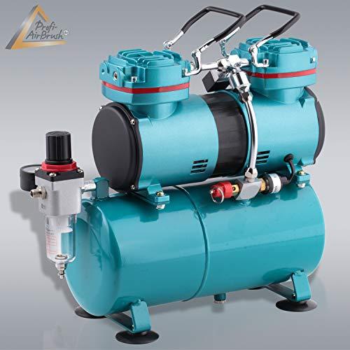 AMUR Airbrush Kompressor Duo-Power II zum Schnäppchenpreis, Airbrushkompressor f. Anfänger/Fortgeschrittene f. individ. Airbrush-Set, mit Manometer, Vorfilter-Wasserabscheider für Airbrush Farbe