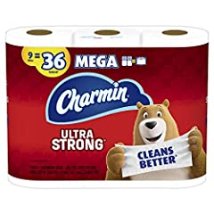 Pack contains 9 Rolls (286 sheets per roll) of Charmin Ultra Strong Toilet Paper 1 Charmin Mega Roll = 4 Regular Rolls based on number of sheets in Charmin Regular Roll bath tissue Design inspired by washcloth-like cleaning Strong 2-ply toilet paper ...