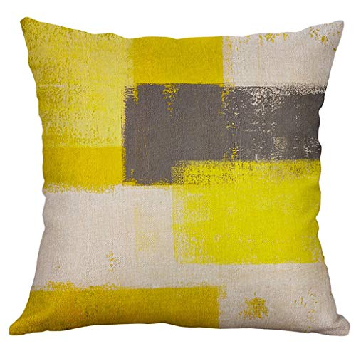 Cojines amarillos y gris para coche, cama o sofá