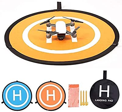 KINGWON 55cm Lightweight Fast Fold Drone Landing Pad for DJI MAVIC PRO/MAVIC 2/ MAVIC AIR,DJI Spark,Diameter of 21.65 inch RC Drone Launch Landing Pad