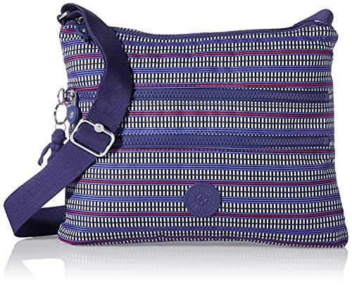 Kipling Alvar - Borsa a tracolla da donna, taglia unica, Blu (Stampa geometrica blu.), One Size