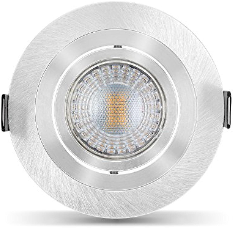 Ledox  Led Einbaustrahler Set dimmbar & schwenkbar inkl. Einbaurahmen 230V 7W warm-wei GU10 (5er Set 3000K)