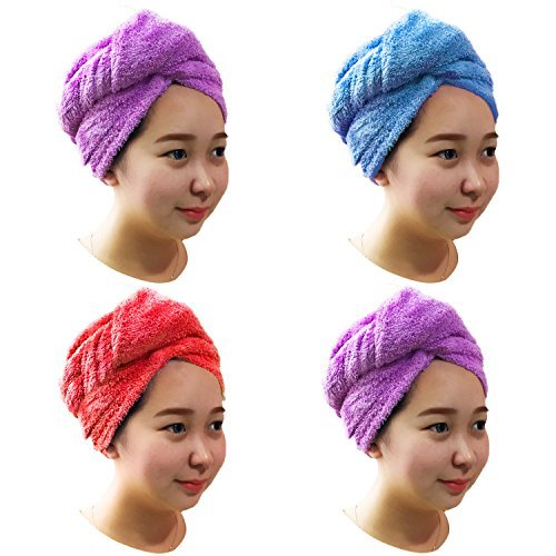 Hair Towel - 4 PACK Microfiber hair drying towels Turbans Wrap Fast Dry Hair Cap Wrap Super Absorbent Twist Towel With Elastic Loop