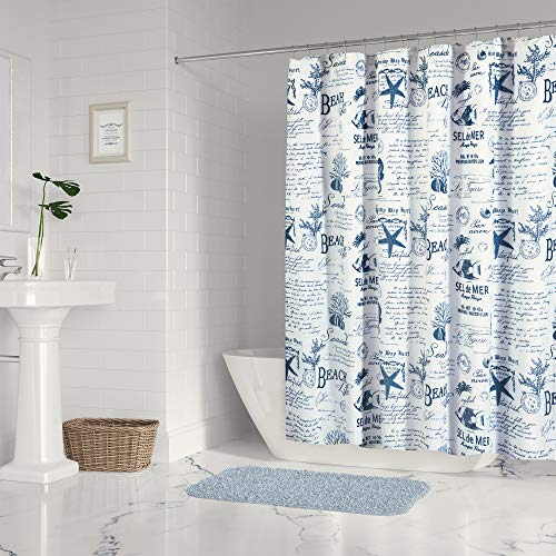 Levtex Home - Beach Life - Shower Curtain with Grommets - One Shower Curtain Panel 72 inch Length, 72 inch Width - Coastal Toile - Navy and Cream - 100% Cotton - Lined