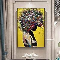 抽象的なアフリカの女の子の肖像画キャンバス絵画グラフィティアートポスターとプリントストリートアート黒人の女の子の壁の写真家の装飾/ 50x70cm-フレームなし