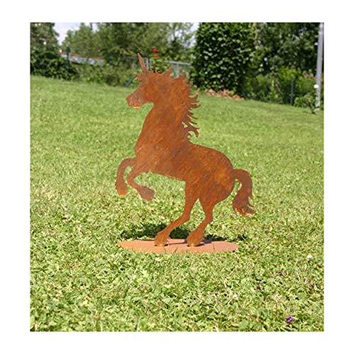 EQT-TEC Premium Gartendekoration Edelrost Einhorn 46 cm Rostfigur Garten Roststecker Rostoptik Tier Dekoration