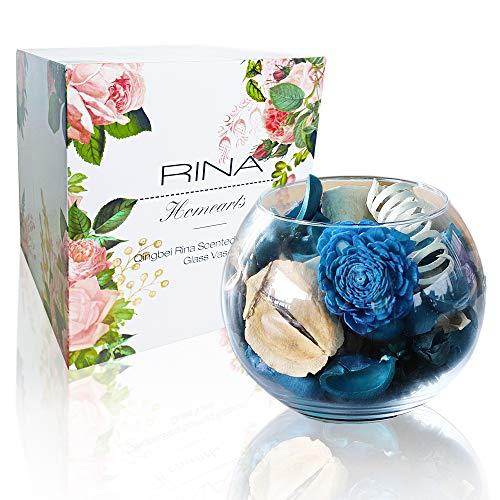 Qingbei Rina Gift Wrapped Blue Potpourri with a Glass Bowl Aroma of Jasmine Volume of 67 Fluid-Oz, Bowl Size 6' Diameter