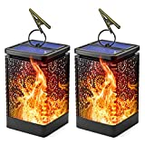 Solar Lantern Lights, Hanging Lantern, Outdoor Solar lights with Dancing Flame, Dusk to Dawn Auto Turn On/Off Function, Waterproof, Flickering Flame Landscape Lights for Garden Patio and Yard (2 pack)