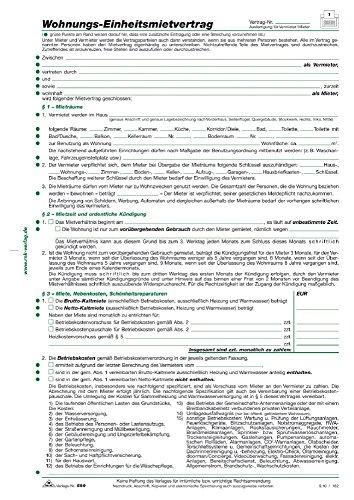 Wohnungs-Einheitsmietvertrag, 4 Seiten, gefalzt auf DIN A4 + Wohnungsgeberbescheinigung