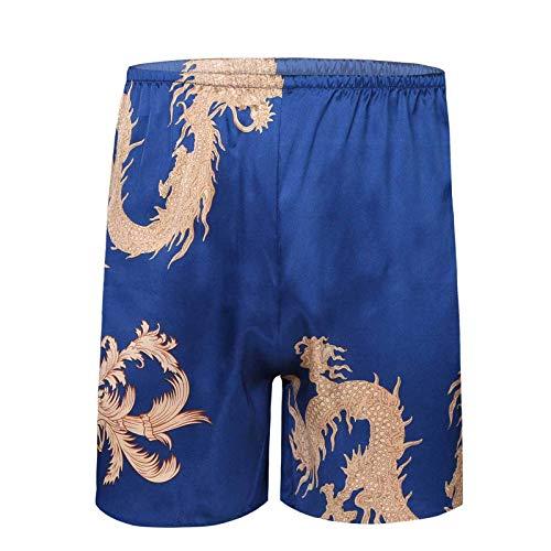 inlzdz Herren Satin Boxershorts Drachen Gedruckt Badeshorts Lässig Pyjamashorts Atmungsaktive Shorts Schlafshorts Beachwear Hellblau XL