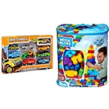 Matchbox 9-Car Gift Pack (Styles May Vary) AND First Builders Big Building Bag