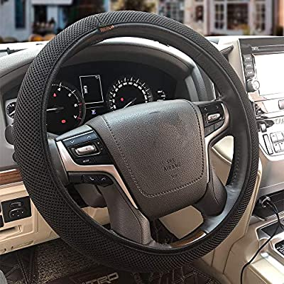 ZHOL Universal 15 inch Steering Wheel Cover Elastic Ice Silk, Breathable, Anti-Slip, Odorless, Warm in Winter and Cool in Summer, Black