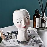 Pintado a mano Chica Flor Pot Renacimiento Escultura Adornos Hogar Escritorio Resina Retrato Flor Pot Inserter Decoración Estatua