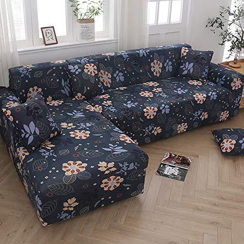 AGGF Funda de sofá en Forma de L, 2 Fundas elásticas, esquinero para sofá seccional, Protector de Muebles de 2, 3 y 4 plazas, con 2 Fundas de Almohada, Lavable, Duradero, a Prueba de Polvo B, 145