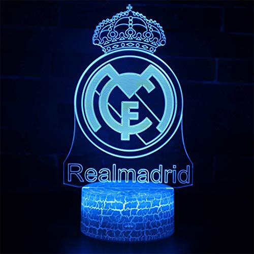 Real Madrid Football Club 3D Diapositiva/Luz de Noche LED, 7 Luces de Noche de Color Decoración para el hogar Dormitorio Acrílico, Base de Crack, Control táctil/táctil, Regalos para niños