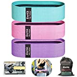 EnriQ Booty Bands Fabric Resistance Bands for Legs and Butt - Non Slip Cloth Hip Bands Elastic...