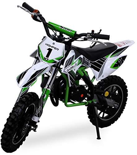 Kinder Mini Crossbike Gazelle 49 cc 2-takt inklusive Tuning Kupplung 15mm Vergaser Easy Pull Start verstärkte Gabel Dirt Bike Dirtbike Pocket Cross (Grün)