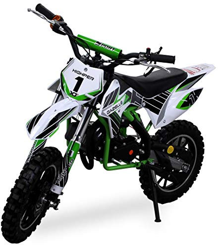 Kinder Mini Crossbike Gazelle 49 cc 2-takt inklusive Tuning Kupplung 15mm Vergaser Easy Pull Start verstärkte Gabel Dirt Bike Dirtbike Pocket Cross (Grün)