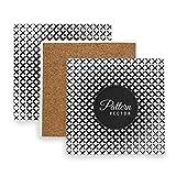 Montoj - Posavasos con diseño de geometría en blanco y negro para bebidas, regalo único para amigos, madera, 1, 2 pieces set