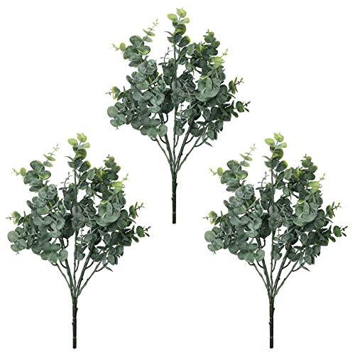 AIVORIUY 3pcs Ramo de Eucalipto Artificial Planta, Hojas de Eucalipto Arbustos Spray con Tallos Ramas de Plantas Eucalipto en Verde Gris para la Decoración de Hogar Fiesta Bodas Casas Cocina Jardín