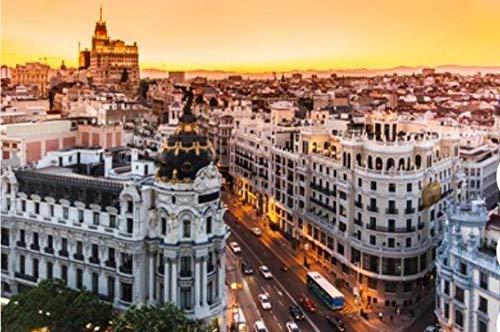 NOBRAND Rompecabezas De 1000 Piezas Vista Aérea Panorámica De La Gran Vía Principal Calle Comercial De Madrid, Capital De España Europa Bricolaje 1000 Piezas