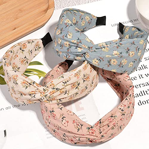 Fuduoduo Moda EláStica Floral Imprimir Diadema,Cruceta de Enlace Ancho de Gasa Simple-Mezcla de Colores 3PCS,Diadema con Dientes De De Ancho