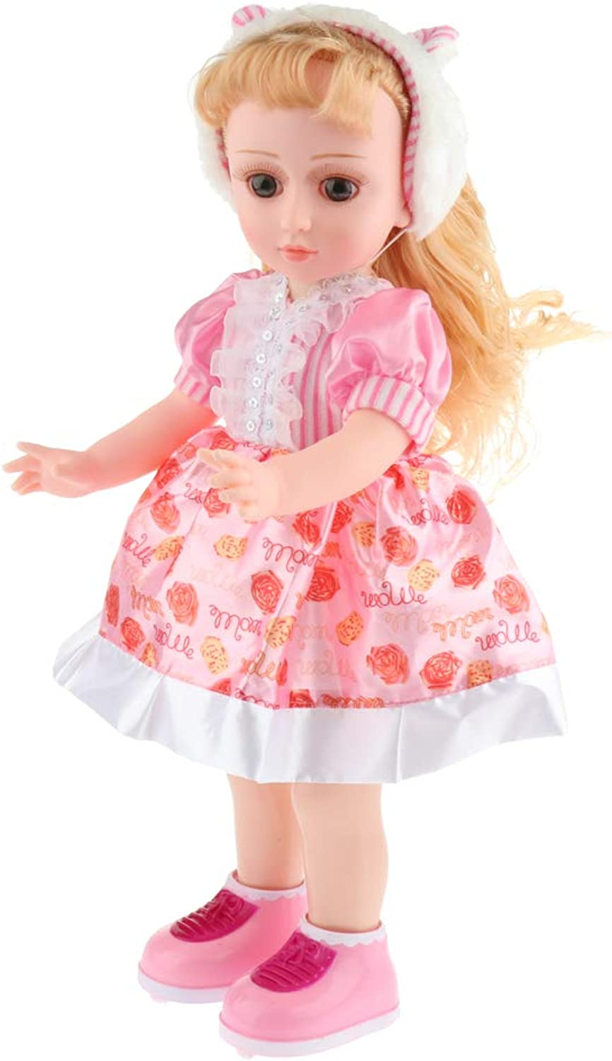 Fenteer Realistic Baby Doll Lifelike Expressions Movements with Doll Dress Toy for Girls - E