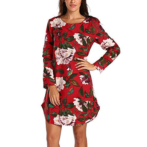 TWIFER Lose Blumenkleider Damen Beiläufiges Sommer Strand Langes Hülsen T Shirt Kleid(X2-Rot,5XL)