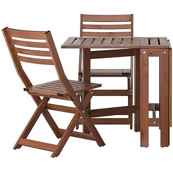 Sedie Pieghevoli Da Giardino Ikea.Ikea Applaro Outdoor Pieghevole In Legno Tavolo E 2 Sedie Pieghevoli Amazon It Giardino E Giardinaggio