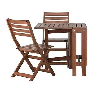 Ikea äpplarö al Aire Libre de Madera Plegable Bistro Mesa y 2sillas Plegables