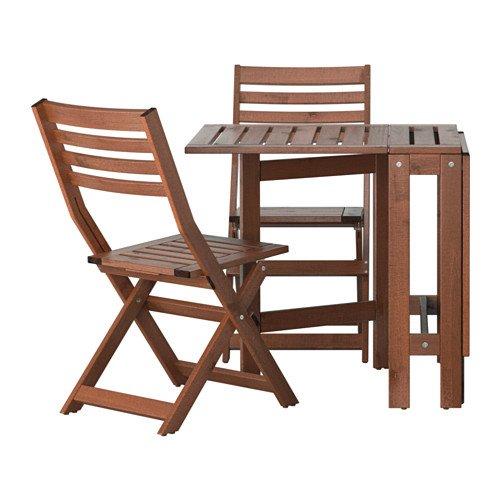 Ikea ÄPPLARÖ Outdoor Holz Bistro Tisch und 2Klappstühle Faltbar