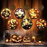 BLOOMWIN Luces LED para Halloween Luz colgante 6 pcs Cadenas de Luces para Cortina Ventana Fantasmas Gatos Negros Castillos Guirnaldas Luminosas Decoración para Casa Patio Jardín Interior y Exterior