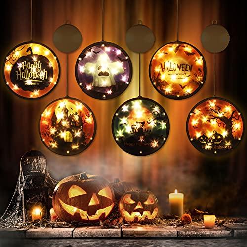 BLOOMWIN Catena Luminosa LED Halloween Luci 3D 6 Led Luci da Appendere Decorazioni Luminose di Halloween per Finestre Parete Porta Zucca Fantasma Castello