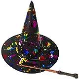 com-four® Juego de Disfraces de 2 Piezas de Sombrero de Bruja y Varita mágica para niños para Carnaval, Fiesta de Disfraces y Halloween (02 Piezas - Sombrero de Bruja + Varita mágica)