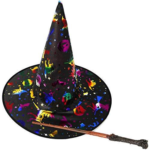 com-four® 2-teiliges Kostüm Set aus Hexenhut und Zauberstab für Kinder zum Fasching, Karneval und Halloween (02-teilig - Hexenhut + Zauberstab)