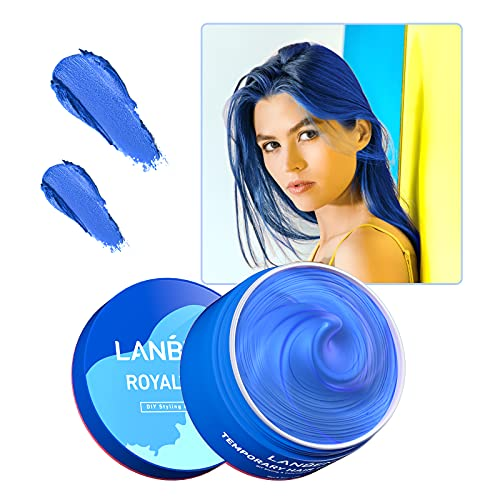 Hair Color Wax Blue Temporary Hair Dye Wax Mud 150g/5.3oz,Royal Blue Hair Dye Wax Washable Natural Instant Unisex Hair Wax Color Hairstyle Cream Coloring Clay for Kids,Men and Women Party, Cosplay & Halloween
