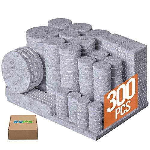 Furniture Pads 300 Pcs Premium Furniture Felt Pads (Grey), Huge Quantity Self Adhesive Felt Furniture Pads, Anti Scratch Floor Protector for Furniture Legs Hardwood Floor with 60 Cabinet Door Bumpers