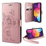 ivencase Samsung Galaxy A50 Hülle Flip Lederhülle, Samsung A50 Handyhülle Book Hülle PU Leder Tasche Hülle mit Kartenfach & Magnet Kartenfach Schutzhülle für Samsung Galaxy A50 - (Pink-Gold)