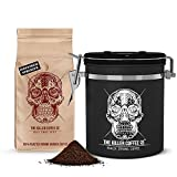 Killer Coffee Storage Tin 16oz with Killer Coffee Grounds 16oz - Airtight Stainless-Steel Canister with One-Way Valve & Calendar Wheel + Australia's Strongest Ground Coffee